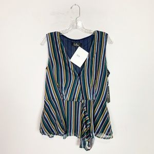 NWT Lulu's multi-color striped wrap front blouse M